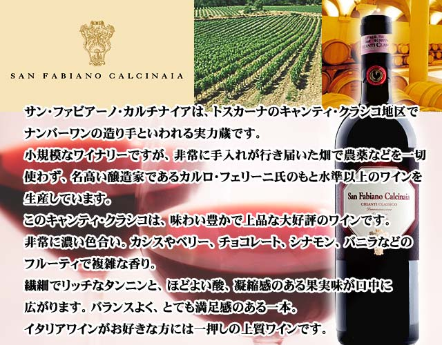 キャンティ・クラシコ/サン・ファビアーノ・カルチナイア/トスカーナ/イタリア赤ワイン
